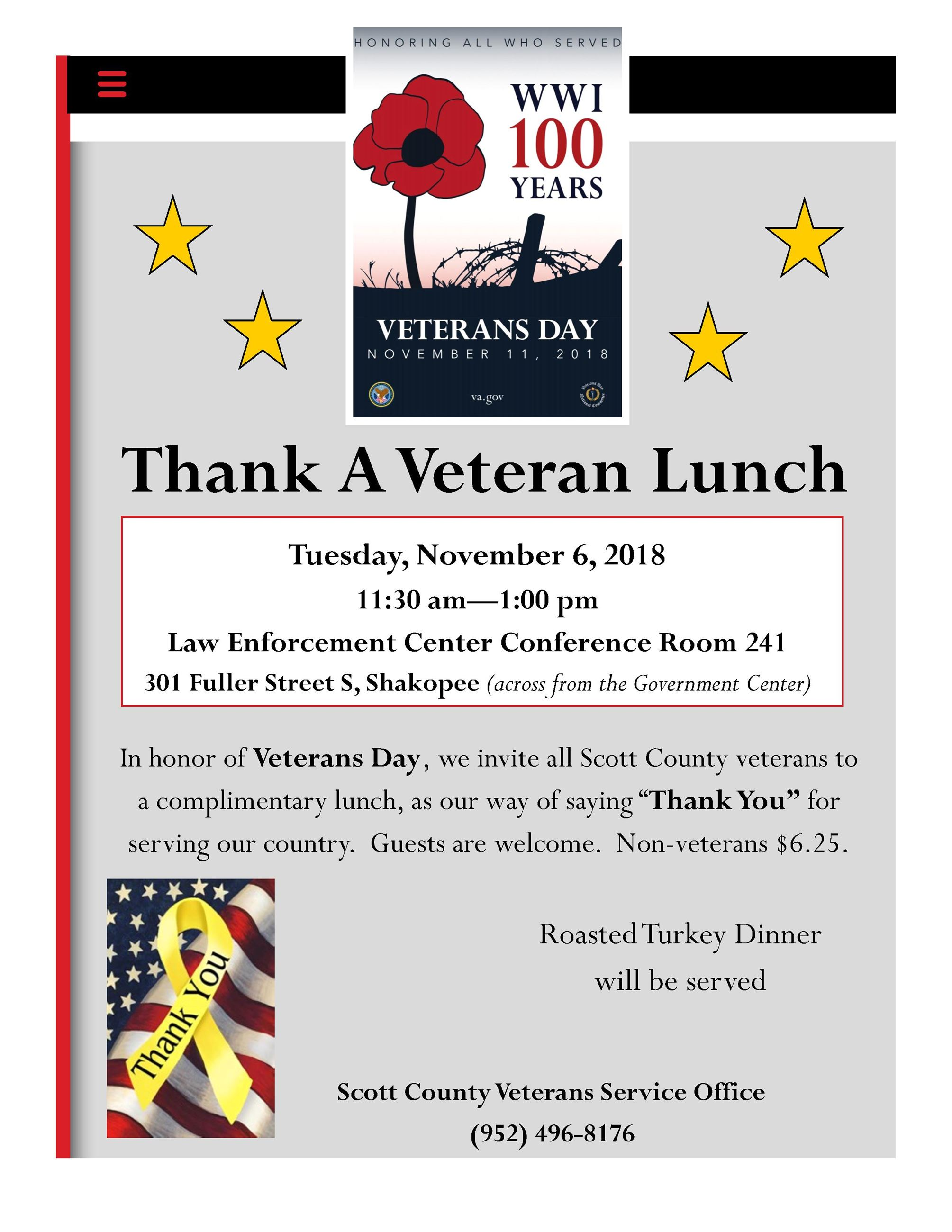 Thank A Veteran Lunch flyer posts 2018
