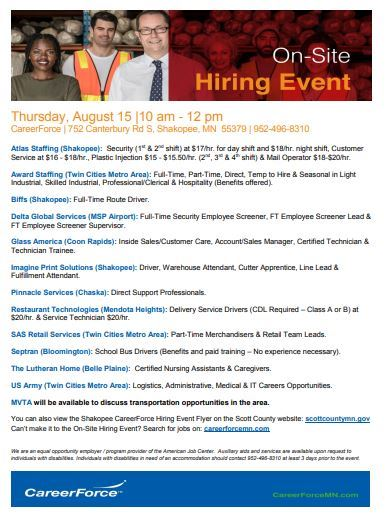 August 15 hiring event