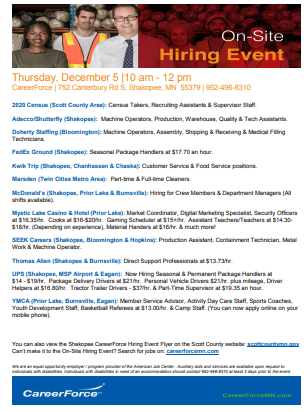 Hiring event Dec 5